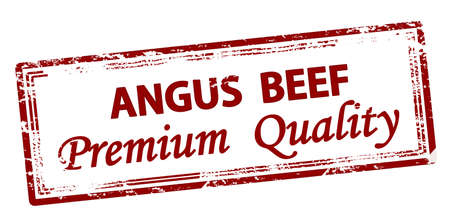 Rubber stamp with text angus beef premium quality inside, vector illustration
