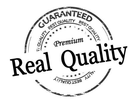 Rubber stamp with text real quality inside, vector illustration