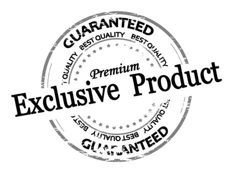 Rubber stamp with text exclusive product inside, vector illustration