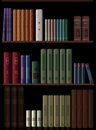 three shelves: three shelves with collections of books Illustration
