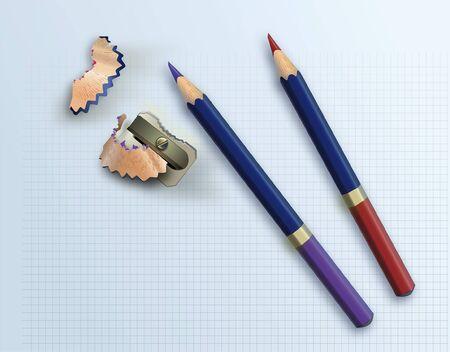 色鉛筆と方眼紙に削りで削り  イラスト・ベクター素材