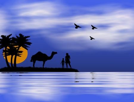 나일 강: 일몰, 어머니, 아이, 나일의 은행에 낙타와 배경