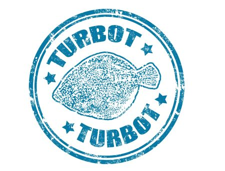 Grunge rubber stamp of a turbot fish and the word turbot written inside Stock Vector - 11359091