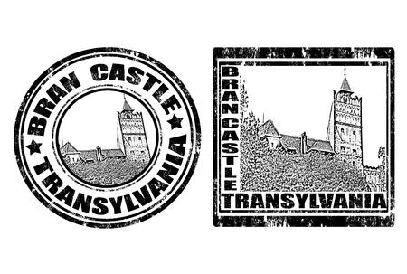 vlad: Set of grunge rubber stamp with Bran Castle ,vector illustration
