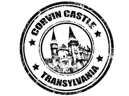 fortification: grunge rubber stamp with corvin castle inside,vector illustration