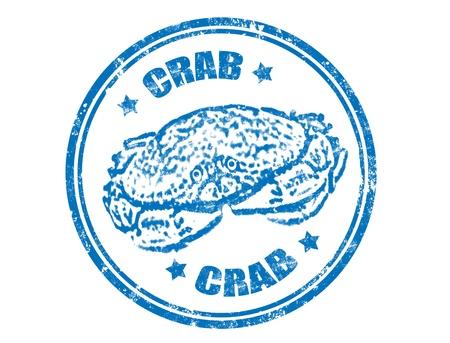 blue crab: Grunge rubber stamp with crab inside,vector illustration
