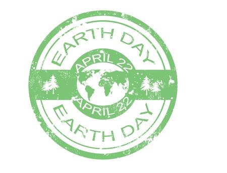 earth friendly: grunge de caucho sello d�as la tierra, ilustraci�n vectorial