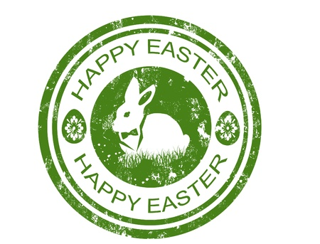 happy easter stamp with bunny with bow tie inside,vector illustration
