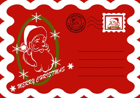 Christmas card with Santa Claus on the card and word Merry Christmas,vector illustration Vector