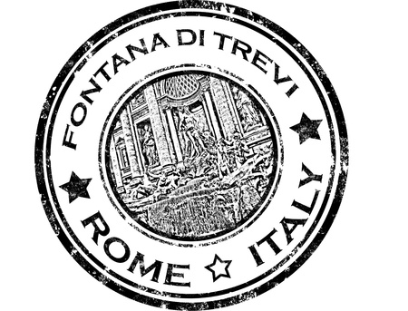 grunge rubber stamp with fontana di trevi  and word Rome,Italy