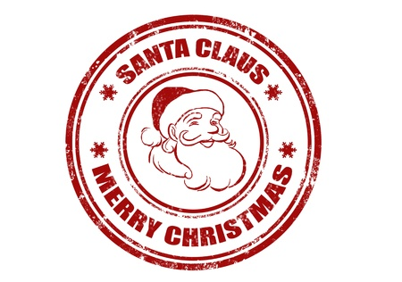 rubber stamp: grunge rubber stamp with word Santa Claus and Merry Christmas inside,vector illustration Illustration