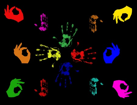 stock clip art icon: Set of colorful hand prints  isolated on black
