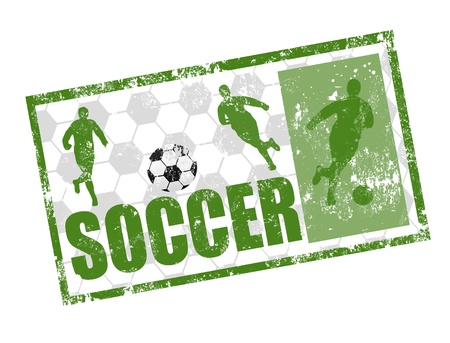 Green grunge rubber stamp with soccer players and the word soccer written inside the stamp Vector