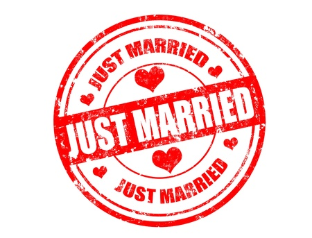 Grunge rubber stamp and the text just married written inside,vector illustration Çizim