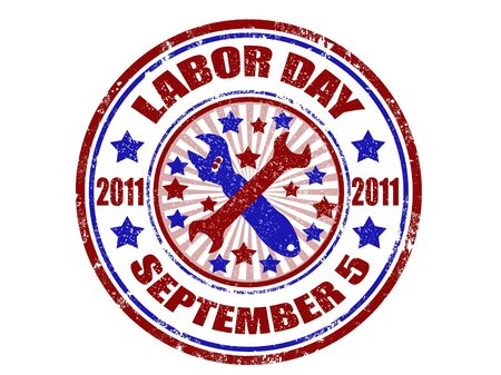 grunge rubber stamp with word labor day inside,vector illustration  Illustration