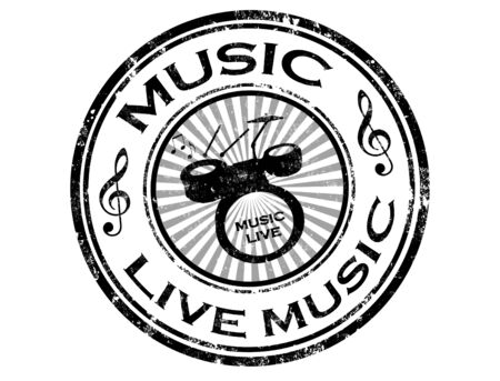 Black grunge rubber stamp with drums and word live music inside,vector illustration