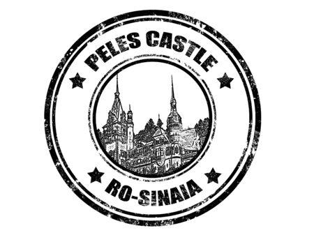 grunge rubber stamp with peles castle inside,vector illustration Stock Vector - 11359092