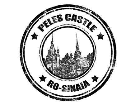 romania: grunge rubber stamp with peles castle inside,vector illustration