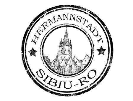 transylvania: Grunge rubber Hermannstadt stamp with Evangelical Church inside