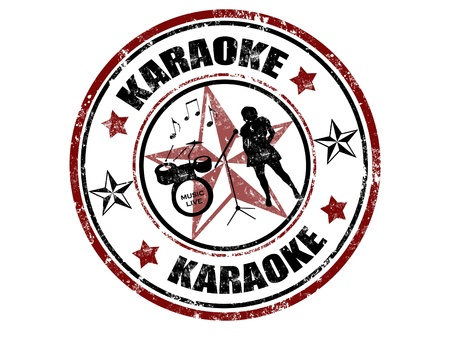 Grunge rubber stamp with word karaoke inside,vector illustration Иллюстрация