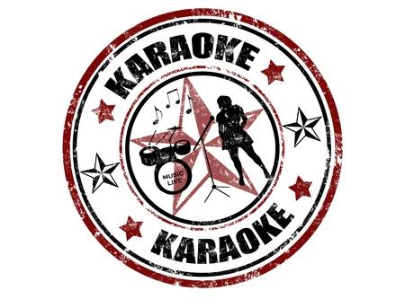 Grunge rubber stamp with word karaoke inside,vector illustration Vettoriali