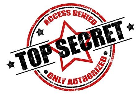 espionaje: Resumen grunge sello de goma con el m�ximo secreto el texto escrito en el centro del sello y la �nica palabra autorizada, ilustraci�n vectorial Vectores