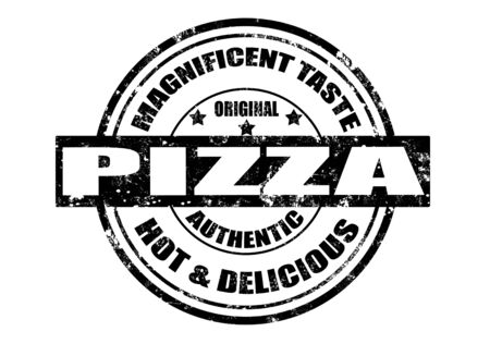 grunge rubber stamp with word pizza,magnificient taste inside,vector illustration Vettoriali