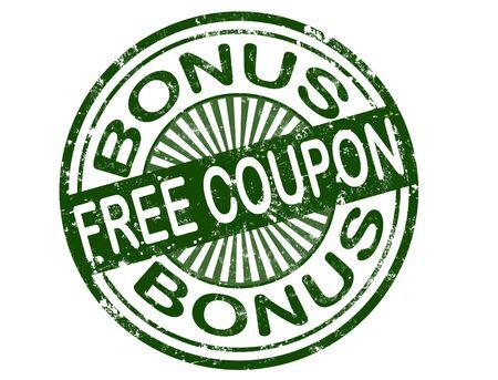 grunge rubber bonus stamp with word free coupon inside,vector illustration