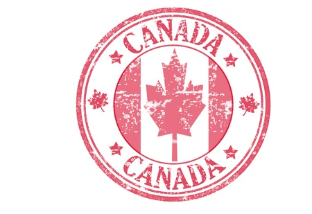 Red  stamp with the canadian flag and the name of Canada