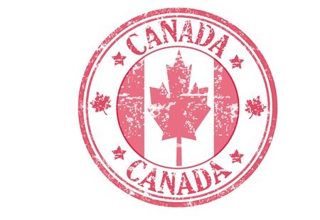 aduana: Sello rojo con la bandera canadiense y el nombre de Canad�