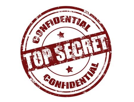 espionaje: La oficina de Grunge sello de goma con el secreto de texto superior por escrito dentro del sello