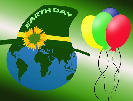 cleaning planet: Earth Day background with earth globe and balloons, vector illustration Illustration