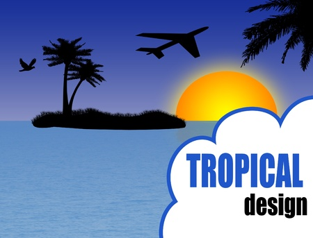 vector illustration of tropical design background with palm island and airplane at sunset Vector