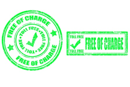 grunge rubber stamp with word free of charge and toll free inside,vector illustration Vector