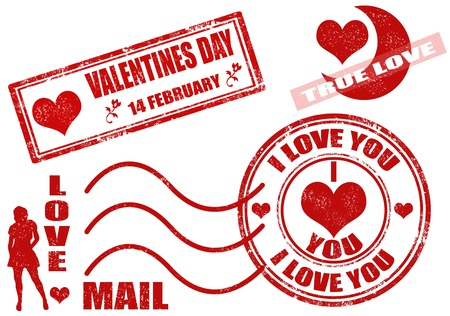Collection of isolated grunge Valentine Stock Vector - 11616835