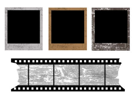 confines: Old photo frames and film strip on white background, vector illustration Illustration