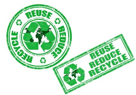 Set of green grunge rubber stamp with the words reuse, reduce and recycle written inside the stamp Stock Vector - 11616831