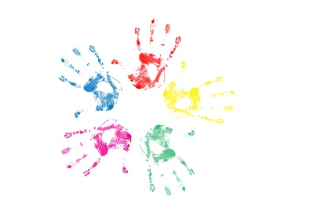 Set of colorful hand prints isolated on white background,vector illustration Vector