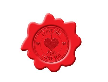 Abstract grunge rubber wax seal with the text I love you written inside the stamp, vector illustration