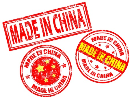 grunge stamp: Set of grunge rubber stamp with the text made in China written inside, vector illustration