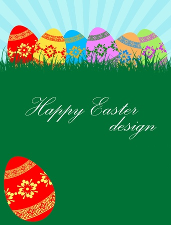 Background with Easter eggs and copy space, vector illustration