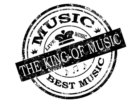Black grunge rubber stamp with  word the king of music and live music inside,vector illustration Vector
