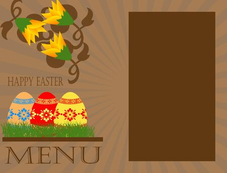 easter menu concept with eggs,grass and flowers Vector