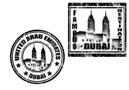 Juego de sello de goma del grunge, con la palabra de Dubai, famoso destino, ilustración vectorial