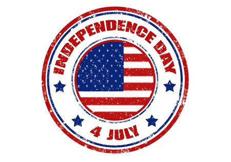 Grunge rubber stamp with word Independence day ,4 July and US flag inside,vector illustration
