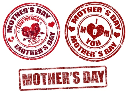 mother s: Set of grunge rubber stamps with mother s day inside,vector illustration