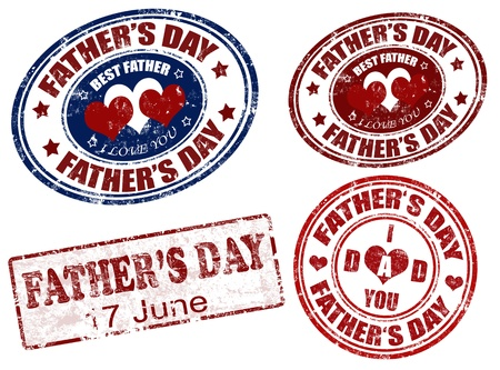 Set of grunge rubber father s day stamps