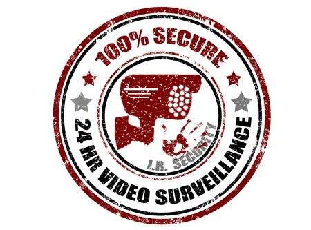 surveillance symbol: Grunge rubber stamp with camera inside and word 100%secure,vector illustration