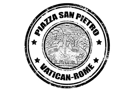 Grunge rubber stamp with San Pietro square,vector illustration Stock Vector - 13282311