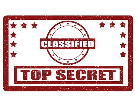 espionaje: Grunge sello de goma con la palabra y de alto secreto en el interior clasificado, ilustraci�n vectorial